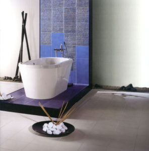 Carrelage pierre céramique pour salle de bains comptemporaine